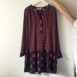 Loft Size Small blue and red printed dress